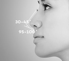 Angle among the columella, philtrum, and nose tip